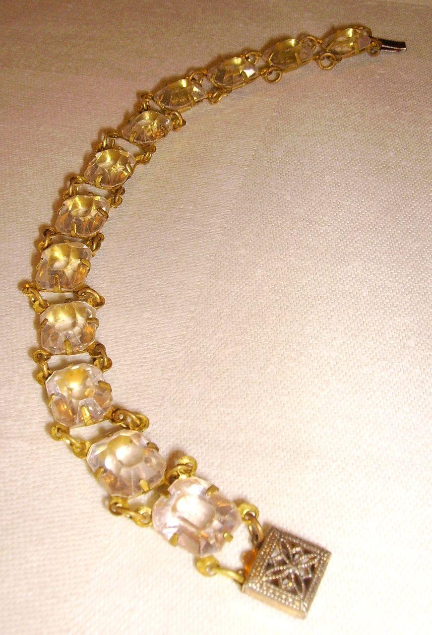 Art Deco Lucite Crystals with Open Back Frames Bracelet