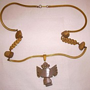 Rare MIRIAM HASKELL Aztec Inspired Necklace w/ Stone Creature