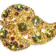 Beautiful Peacock Rivoli & Aurora Borealis Rhinestone Leaf Pin