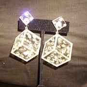 Mod Vendome Lucite & Rhinestone Dice Earrings