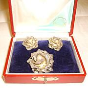 Silver Filigree Rose Earrings & Pin/Pendant Set w/ Pearls