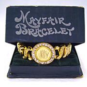 Gold Filled & Paste Sweetheart Expansion Bracelet in Original Box