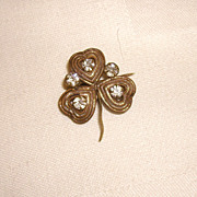 VERY OLD Paste 3-Leaf Clover Pin