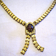 Victorian Gold Filled Book Chain Necklace w/ Garnet Stone