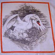 Vintage Printed Depose Swan Handkerchief
