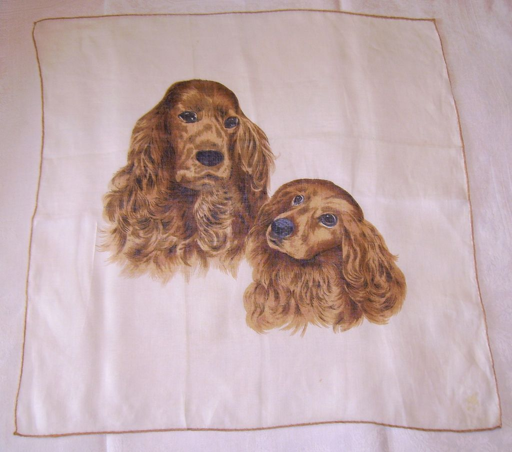 Vintage Printed Cocker Spaniel Dog Handkerchief