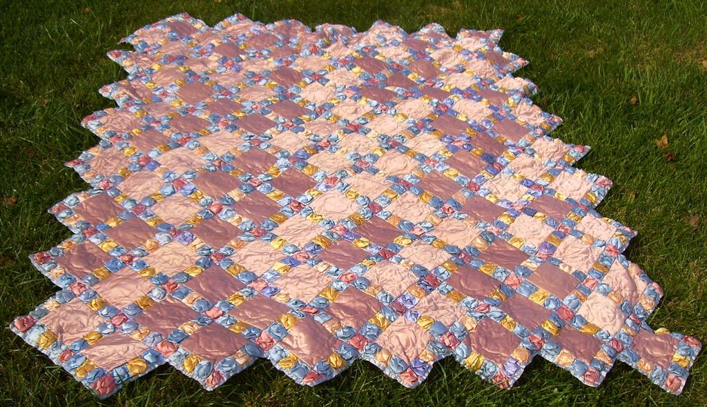 FABULOUS Hollywood Glamour Satin Hand Stitched Quilt 1930s
