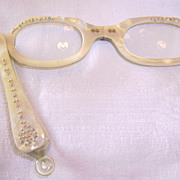 Vintage Pearl Lucite Lorgnette Opera Glasses with Rhinestones