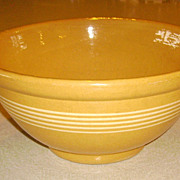 EARLY Large Yelloware Stoneware Bowl w/ 5 Narrow White Bands