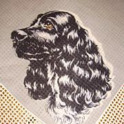 Vintage All Cotton Black Cocker Spaniel Dog Handkerchief