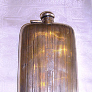 Art Deco Sterling Silver 3/4 Pint Gentleman's Whisky Hip Flask