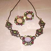 Early CORO Demi Parure w/ Faux Opal & Rhinestone Necklace & Earrings