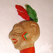 Vintage Wooden Native American Indian Head Brooch