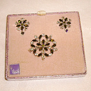 Vintage B. David Olivine & Crystal Rhinestone Set in Original Box