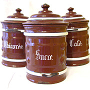 French Enamelware Graniteware Canister Set of 3