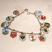 Vintage European Travel Charm Bracelet 12 Enamel Shields