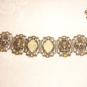 Egyptian Revival 1930s Panel Bracelet w/ Hamsa, Elephants, & Celluloid