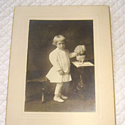 Victorian Photograph of Fancy Little Boy with Toy Dog