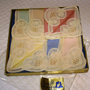 Set of 6 Pastel Brussels Lace Cocktail Napkins NOS