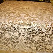 Round Italian Reticella Needle Lace Tablecloth 90 Inches