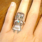 Vintage Native American Sterling & Turquoise Kachina Ring