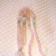 Rose Quartz and Jade Beaded Necklace With Tassel