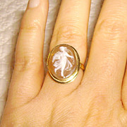 14K Gold Italian Shell Cameo Ring Size 6