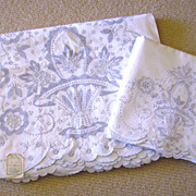 NOS Madeira Embroidered Sheet Set w/ Top Sheet & Cases