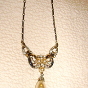 Early Trifari Faux Pearl, Rhinestone, & Enamel Drop Necklace