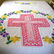 Unusual Vintage Chenille Bedspread w/ Cross