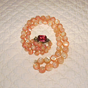 Graduated Pink Mother of Pearl Bead Necklace Sterling Clasp