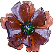 SOLD HUGE Cellulose Acetate Flower Brooch w/ Rhinestone Center