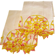 Fun Vintage Pink & Yellow Crochet Pillowcases