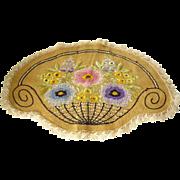 Arts & Crafts Embroidered Flower Basket Doily