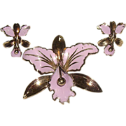 Silver-Tone & Lavender Enamel Orchid Brooch & Earring Set