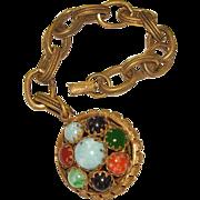 Unsigned Art Glass Stone Bracelet w/ HUGE Fob