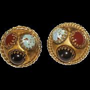 Unsigned Art Glass & Brass Clip Earrings