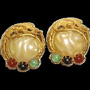 Unsigned Art Glass & Faux Pearl Earrings with Phoenix