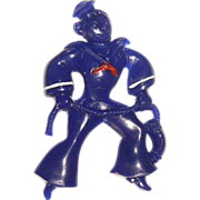 Early Plastic Blue Sailor Pin