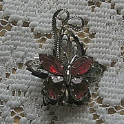 SALE Unique Filigree Rhinestone Butterfly Pin