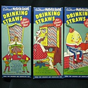 Paper Sweetheart Mother Goose Drinking Straw Set of Three Mint Condition!