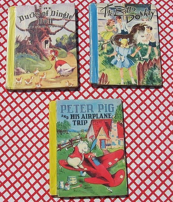 """Rare 1940's First Editions Color Classics McLoughlin Bros Set with """"Peter Pig and His Airplane Trip"""""""