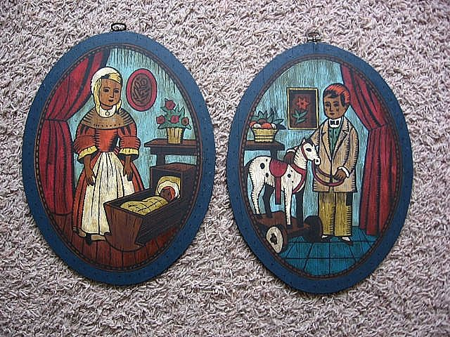 """Rare 1960's """"Colonial Children"""" Paint By Number Set"""