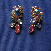 Beautiful Multi-colored  Clip Rhinestone Earrings