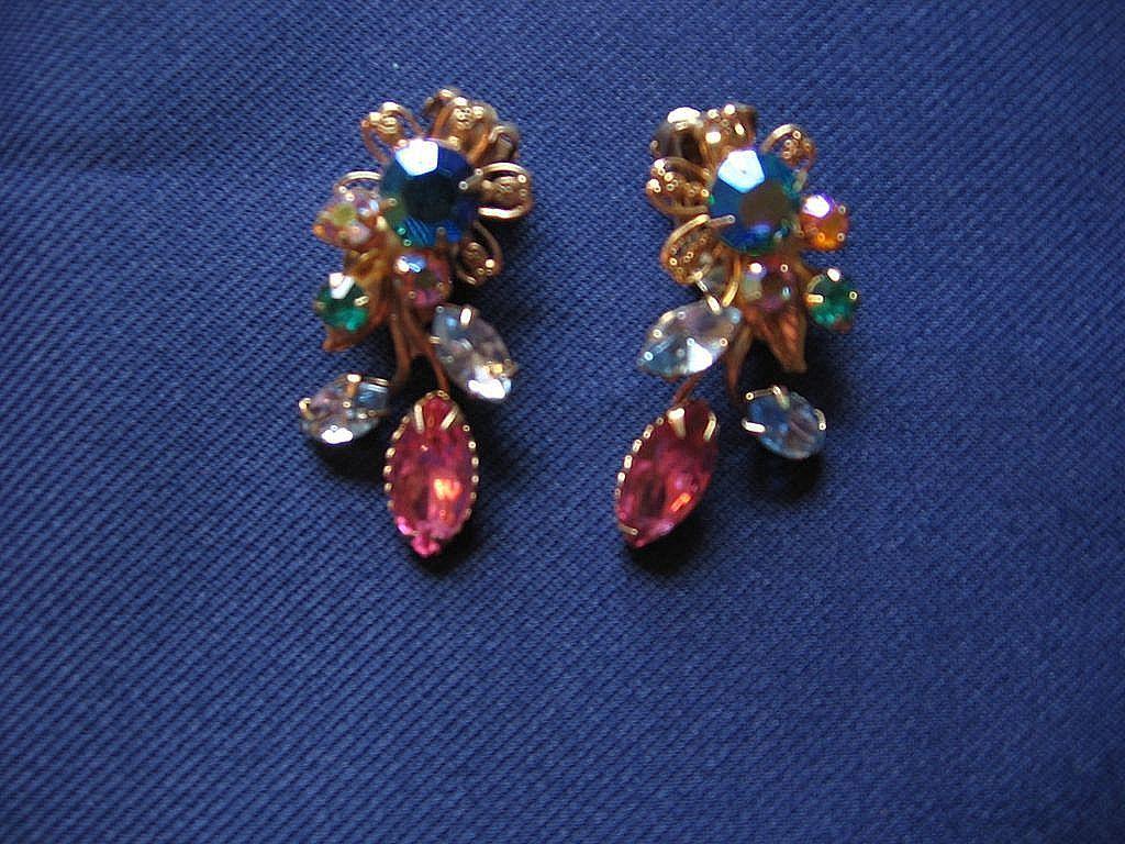 Beautiful Multi-colored  Clip Rhinestone Earrings