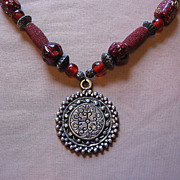 SALE Beautiful Chunky Beaded Necklace With Medallion