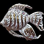 SALE Enamel Rhinestone Figural Fish Pin
