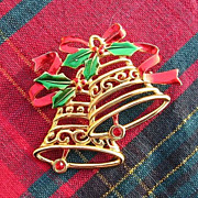 SALE Signed JJ Double Bell Christmas Pin