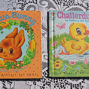 "SALE ""Fuss Bunny"" and ""Chatterduck"" Rand McNally Elf Children Book Set"