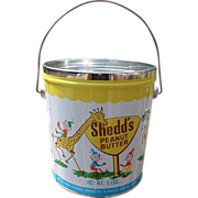 SALE 1950's Shedd's Peanut Butter Pail